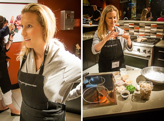 Lisa of With Style and Grace Blog at the GE Monogram Experience Center, getting ready to cook.