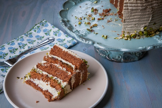 Chocolate Rolled Cake with Brown Sugar Buttercream and Pistachios by Irvin Lin of Eat the Love