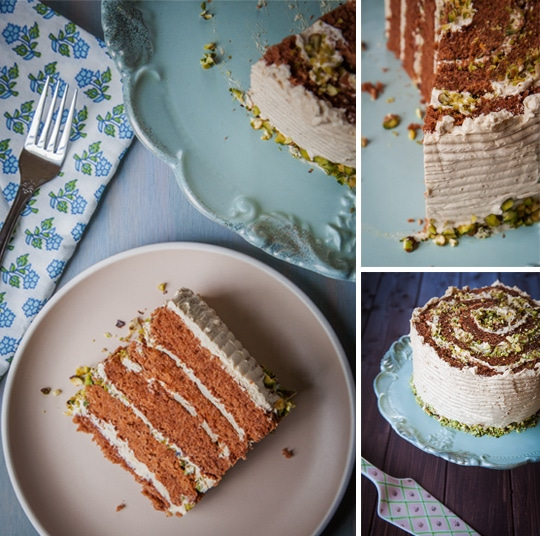 Chocolate Rolled Cake with Brown Sugar Buttercream and Chopped Pistachios by Irvin Lin of Eat the Love