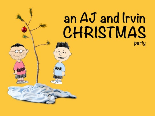 AJ and Irvin's Christmas Party invite inspired by Charles Schulz. Illutstration and design by Irvin Lin of Eat the Love. www.eatthelove.com