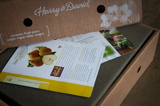 A box of Royal Riviera Pears from Harry and David about to be opened up. Photo by Irvin Lin of Eat the Love.