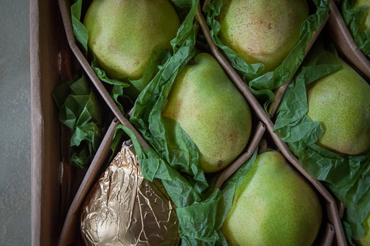 Harry & David's Royal Riviera Pears all snuggled up in their package. Photo by Irvin Lin of Eat the Love.