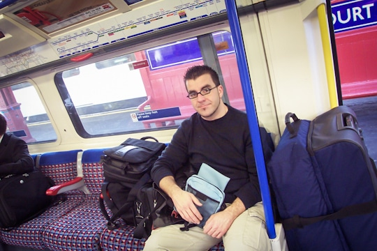 A very young AJ on the way to the London Airport. Photo by Irvin Lin of Eat the Love. www.eatthelove.com