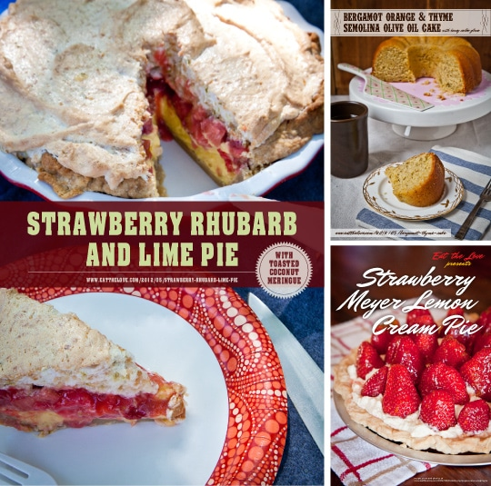 Strawberry Rhubarb Lime Pie with coconut meringue and more by Irvin Lin of Eat the Love. www.eatthelove.com