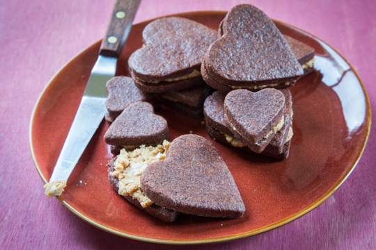 Gluten Free Chocolate Shortbread Sandwich Cookie with Salted Butterscotch Filling for Valentine's Day by Irvin Lin of Eat the Love. www.eatthelove.com