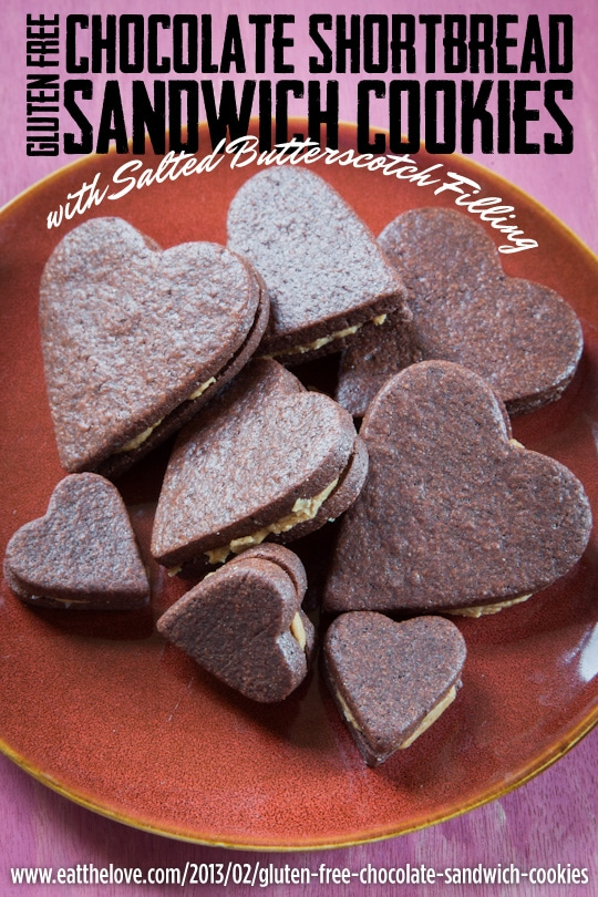 Gluten Free Chocolate Shortbread Sandwich Cookies with Salted Butterscotch Filling for Your Valentine's Day