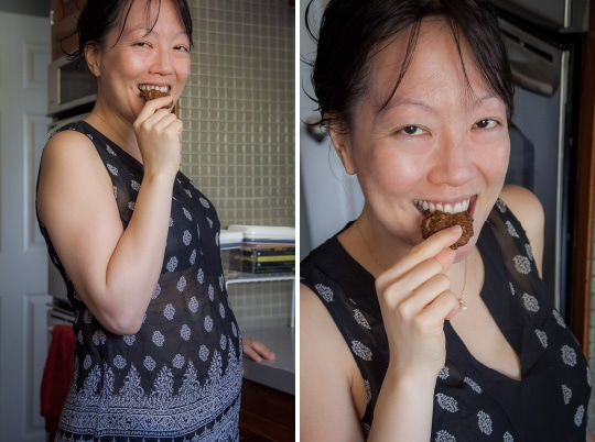 A pregnant Rita eating a Pregnancy Cookie. Photo by Irvin Lin of Eat the Love. www.eatthelove.com