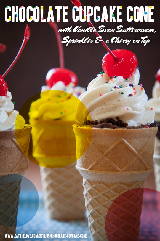 Chocolate Ice Cream Cone Cupcakes with Vanilla Buttercream, Sprinkles and a Cherry on Top