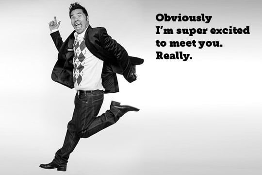 Obviously, because I am jumping, I am excited to meet you. By Irvin Lin of Eat the Love. www.eatthelove.com