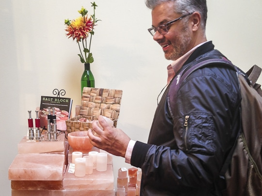 Joe Yonan checking out the Himalayan Salt candle holders at The Meadow. Photo by Irvin Lin of Eat the Love. www.eatthelove.com