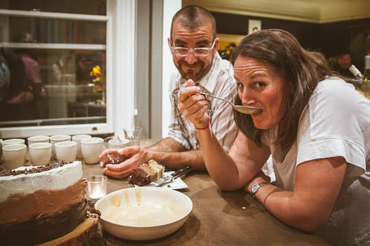 AJ watching as friend Megan eats a spoonful of ice cream. Photo by Irvin Lin of Eat the Love | www.eatthelove.com