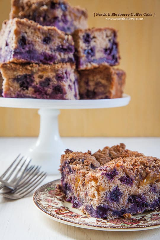 Peach and Blueberry Coffee Cake by Irvin Lin of Eat the Love.   www.eatthelove.com   #coffeecake #blueberries #peaches #recipe