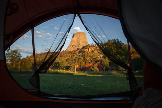 The view out of our tent at Devils Tower National Monument by Irvin Lin of Eat the Love | www.eatthelove.com