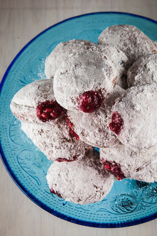 Jelly Donuts filled with cranberry sauce. Perfect for Hanukkah and Thanksgiving. Photo and recipe by Irvin Lin of Eat the Love. www.eatthelove.com