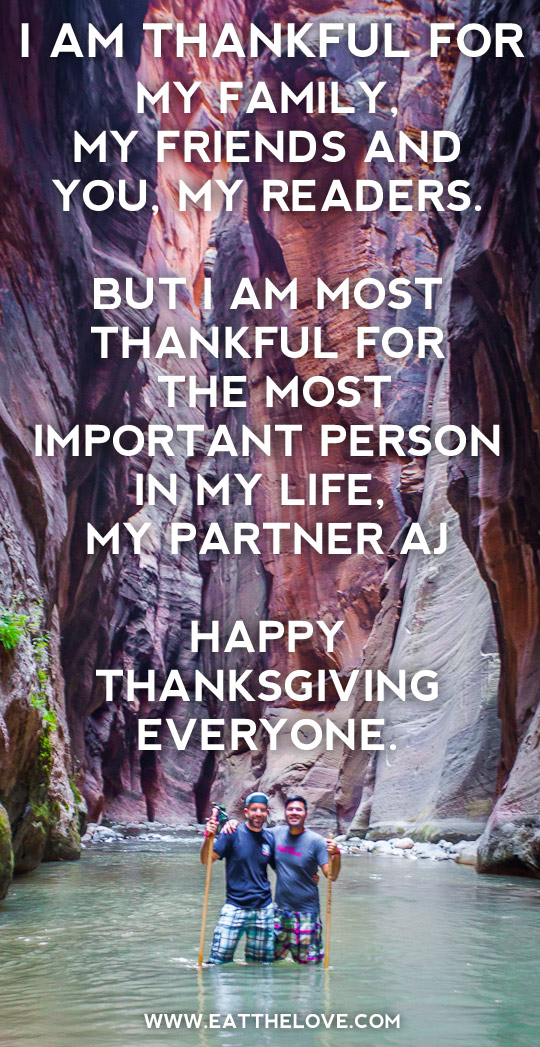 I am thankful for my family, my friends and you, my readers. But I am most thankful for the most important person in my life, my partner AJ. Happy Thanksgiving everyone. Photo by Irvin Lin of Eat the Love. www.eatthelove.com
