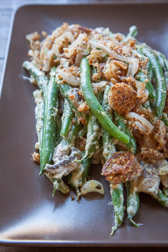 Classic Green Bean Casserole made vegan, gluten free, grain free, and paleo friendly. Photo and recipe by Irvin Lin of Eat the Love. www.eatthelove.com