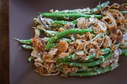 Vegan, Gluten Free, Grain Free and Paleo friendly Green Bean Casserole. Photo and recipe by Irvin Lin of Eat the Love. www.eatthelove.com