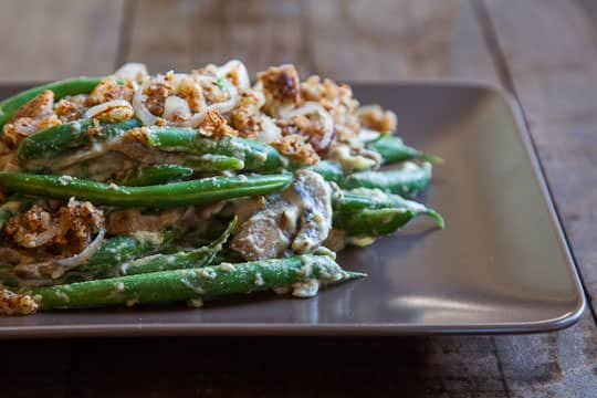 Vegan Green Bean Casserole, Gluten Free, Grain Free and Paleo Friendly as well! Photo and recipe by Irvin Lin of Eat the Love. www.eatthelove.com