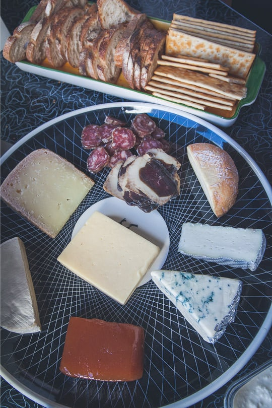 The cheese platter for us to munch on while we made sausage. Photo by Irvin Lin of Eat the Love. www.eatthelove.com