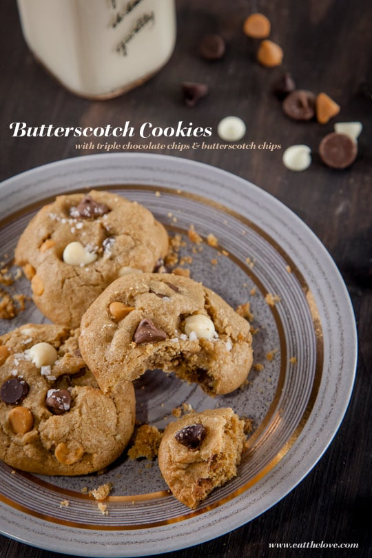 Butterscotch Cookies with Triple Chocolate Chips