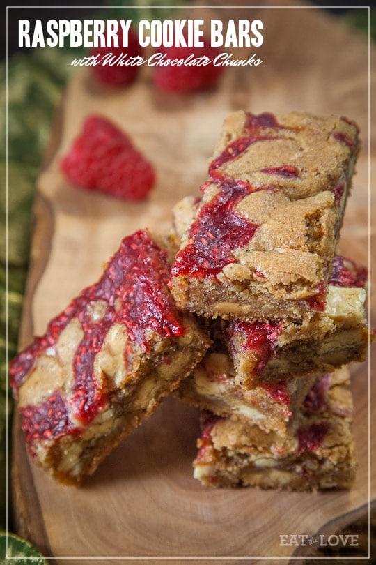 Raspberry Cookie Bars with White Chocolate Chunks [Sponsored Post]