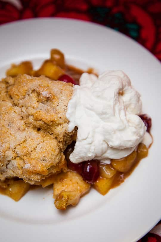 Apple Pear Cobbler Plated with Whipped Cream. Photo and Recipe by Irvin Lin of Eat the Love. www.eatthelove.com