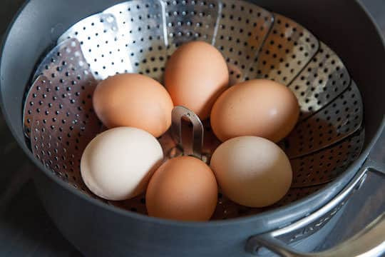 The raw eggs in a steamer basket. Photo by Irvin Lin of Eat the Love. www.eatthelove.com