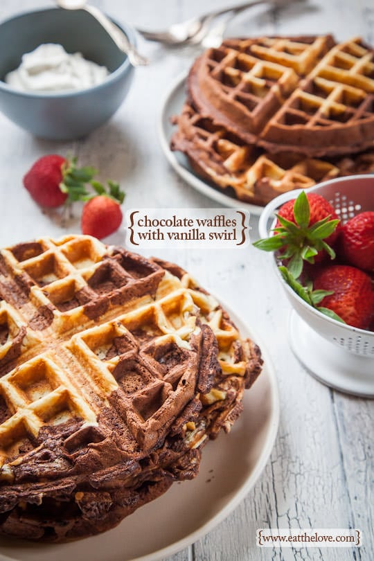 Chocolate Waffles with Vanilla Swirl