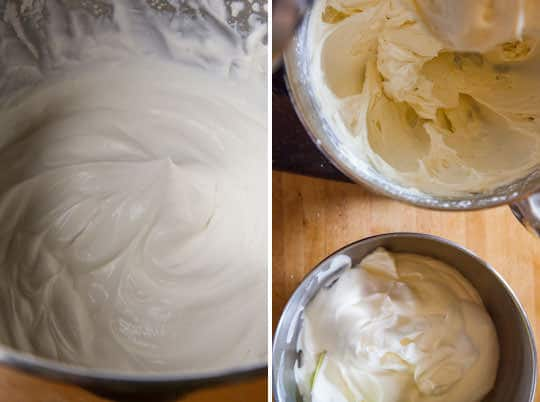 Whip cream to peaks, then beat the cream cheese and Mascarpone cheese together with the sugar.