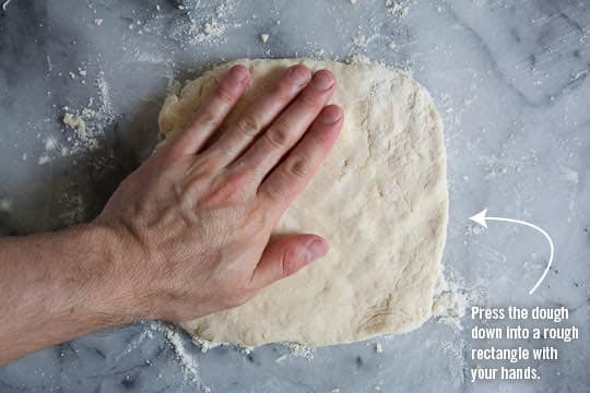 Flatten dough ball into a rectangle. Photo by Irvin Lin of Eat the Love. www.eatthelove.com