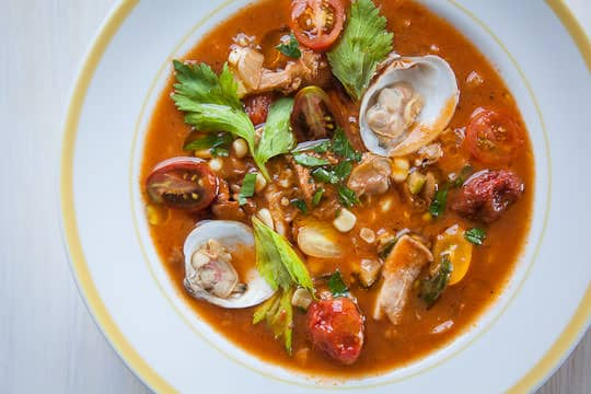 A bowl of Manhattan Clam Chowder Recipe. Recipe and Photo by Irvin Lin of Eat the Love. www.eatthelove.com