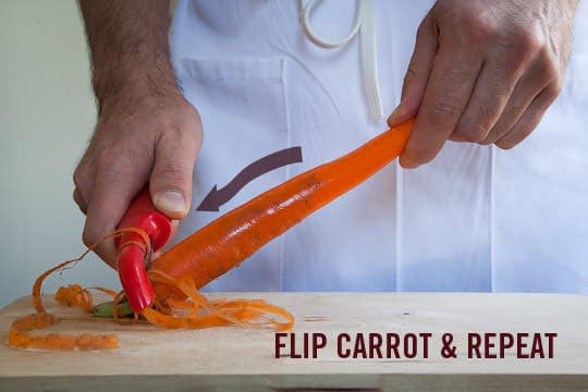 Flip the Carrot and repeat the peeling. Photo and technique by Irvin Lin of Eat the Love. www.eatthelove.com