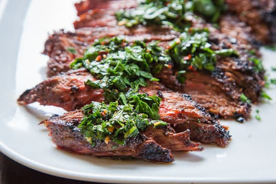 Grilled Skirt Steak Recipe with all-purpose steak rub and chimichurri sauce. Easy and fast recipe by Irvin Lin of Eat the Love.