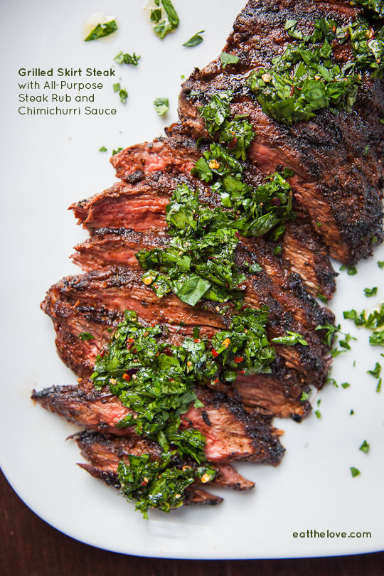 Skirt Steak Recipe with an all-purpose steak rub and chimichurri sauce. Easy and fast recipe by Irvin Lin of Eat the Love.