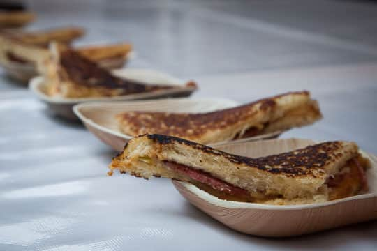 Bologna and Pimento Cheese Grilled Sandwich at Feast Portland 2014. Photo by Irvin Lin of Eat the Love.