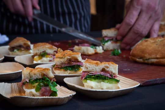 Sandwiches being prepped for the Feast Portland 2014 Sandwich Invitational. Photo by Irvin Lin of Eat the Love.