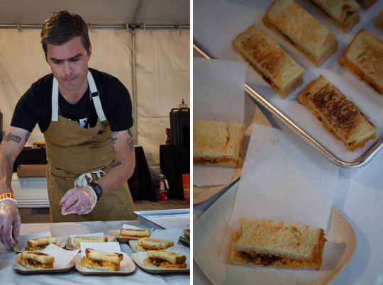 Hugh Acheson from The National and his grilled pimento cheese sandwich at Feast Portland. Photo by Irvin Lin of Eat the Love.