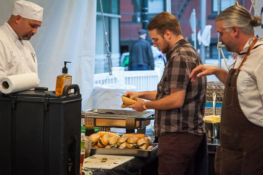 Prepping the sandwiches at Feast Portland. Photo by Irvin Lin of Eat the Love.