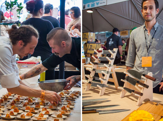 Prepping food and Chubo knives at Oregon Bounty at Feast Portland. Photo by Irvin Lin of Eat the Love.