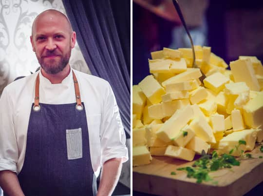 Chef and his mountain of butter. Photos by Irvin Lin of Eat the Love.