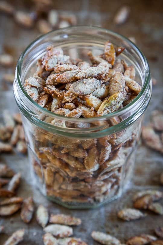 Spiced Candied Pumpkin Seeds by Irvin Lin of Eat the Love.