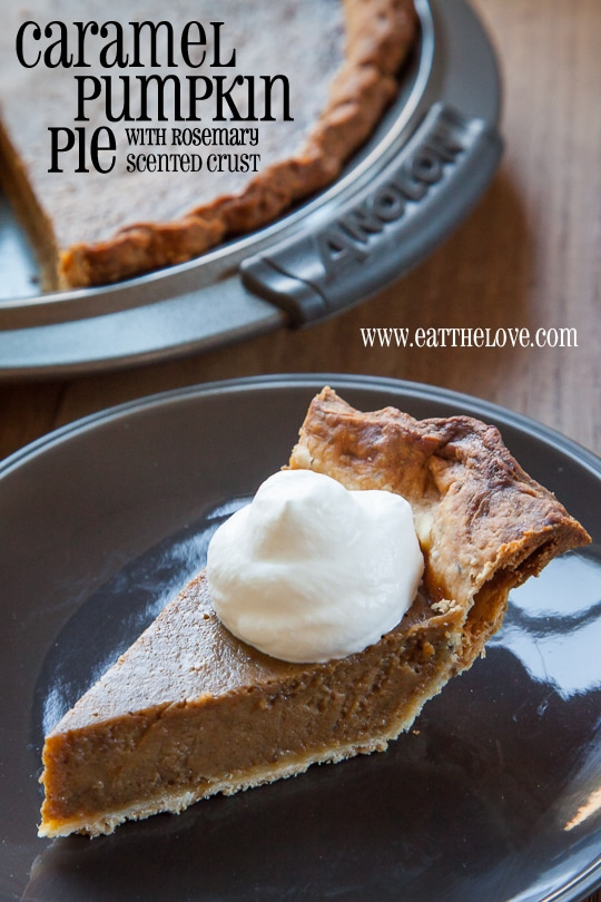 Caramel Pumpkin Pie with Rosemary Crust. Photo and recipe by Irvin Lin of Eat the Love.