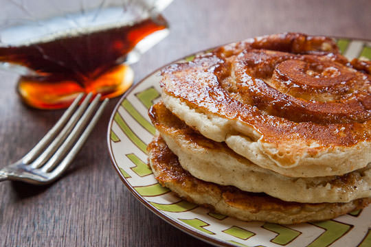 Eggnog Pancakes with a swirl of cinnamon, nutmeg, rum and brown sugar. Recipe and photo by Irvin Lin of Eat the Love.