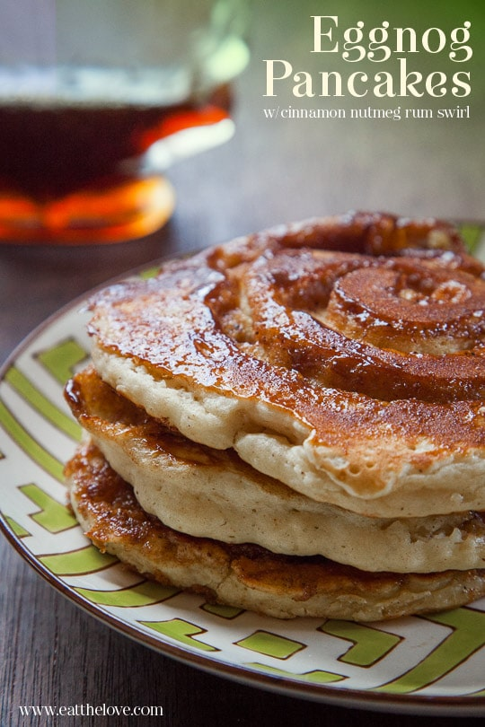 Eggnog Pancakes with Cinnamon Nutmeg Rum Swirl. Recipe and Photo by Irvin Lin of Eat the Love.