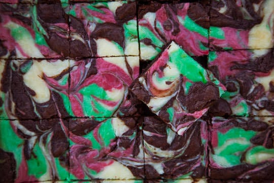 Mint Cheesecake Brownies made with Kahlua Peppermint Mocha. Photo by Irvin Lin of Eat the Love.