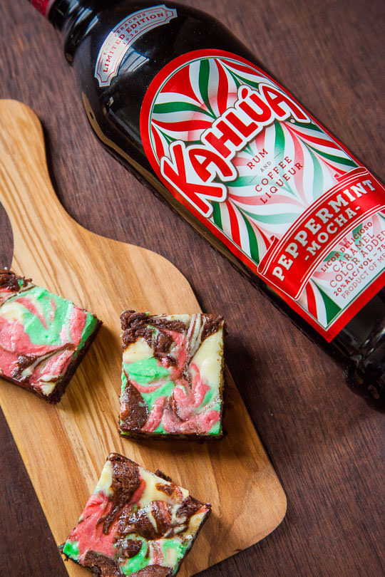 Peppermint Cheesecake Brownies recipe made with Kahlua Peppermint Mocha. Photo by Irvin Lin of Eat the Love.