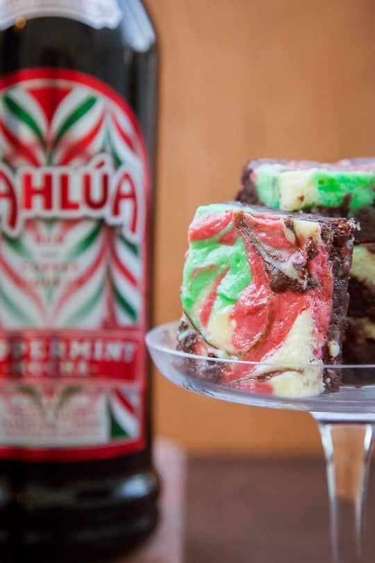 Peppermint Cheesecake Brownies made with Kahlua Peppermint Mocha liqueur. Photo by Irvin Lin of Eat the Love.