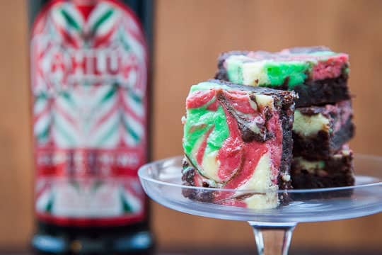 Peppermint Cheesecake Brownies made with Kahlua Peppermint Mocha. Photo by Irvin Lin of Eat the Love.