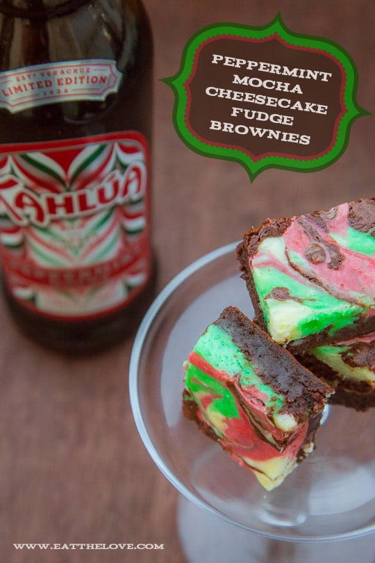 Peppermint Cheesecake Brownies with Kahlúa Peppermint Mocha [Sponsored Post]