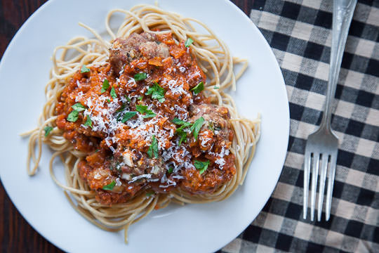 Easy Spaghetti and Meatballs with Oven Roasted Tomato Sauce. Photo and recipe by Irvin Lin of Eat the Love.